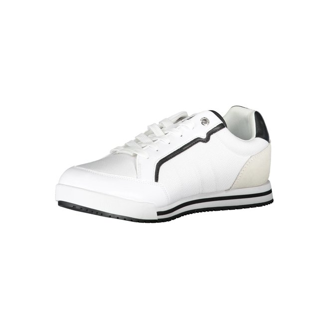 Ck Men sneaker with suede detail on the heel - White/Blue