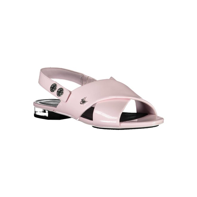 Leather Flat Sandals - Pink