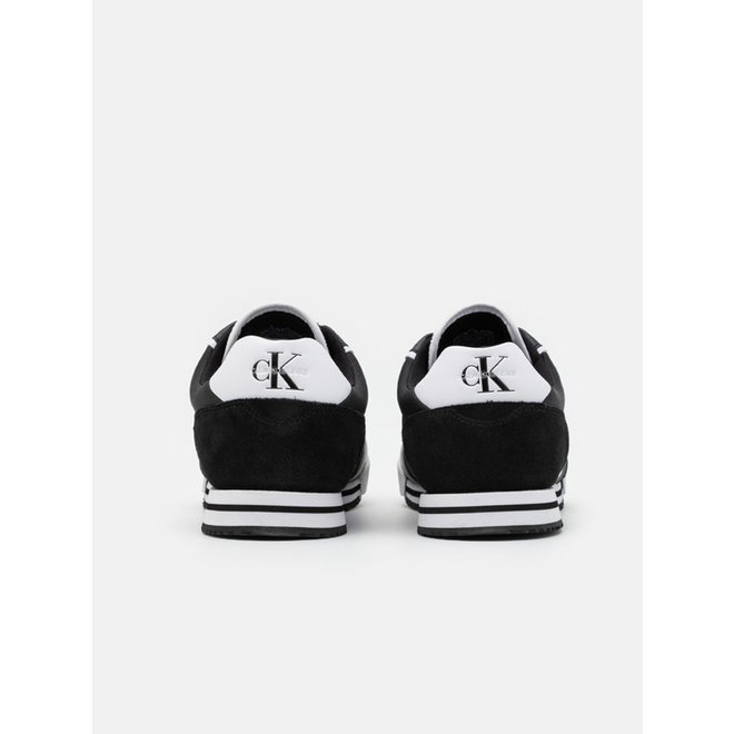 Ck Men sneaker with suede detail on the heel - Black/White