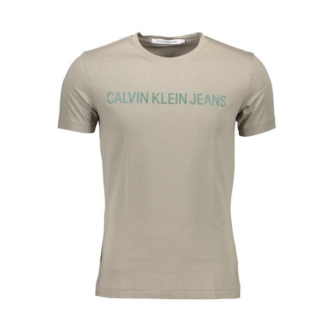 Slim organic cotton logo t-shirt Men - Travertine