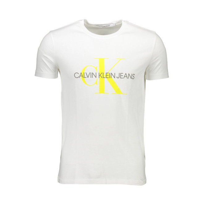 Slim Organic Cotton Monogram T-Shirt Men - White/Sunshine
