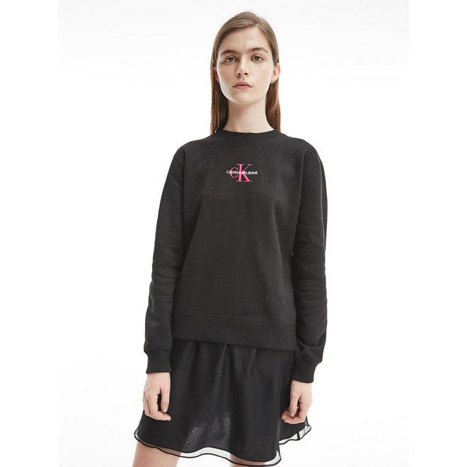 Embroidered Logo Sweatshirt Women  - CK Black/Party Pink