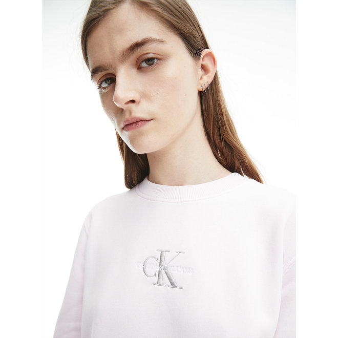 Embroidered Logo Sweatshirt Women  - Pearly Pink/Quiet Grey