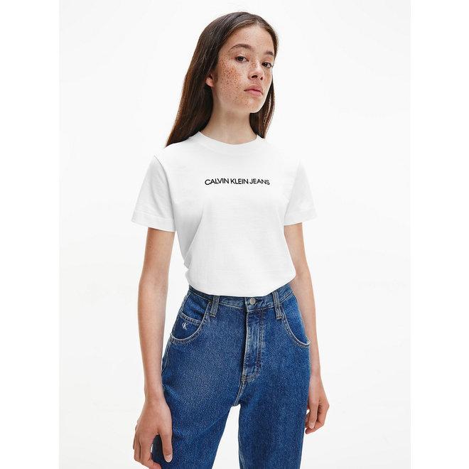Organic Cotton Logo T-Shirt Women - Bright White/CK Black