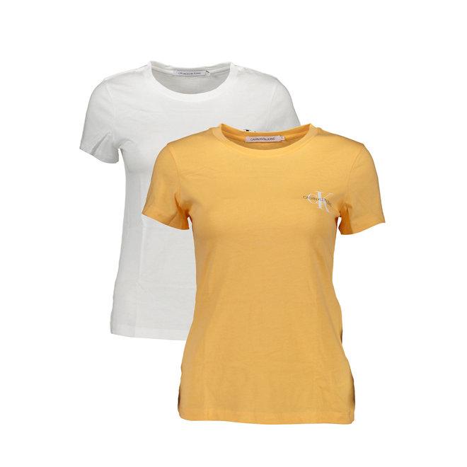 2- Pack slim organic cotton T- shirts women - White/Orange