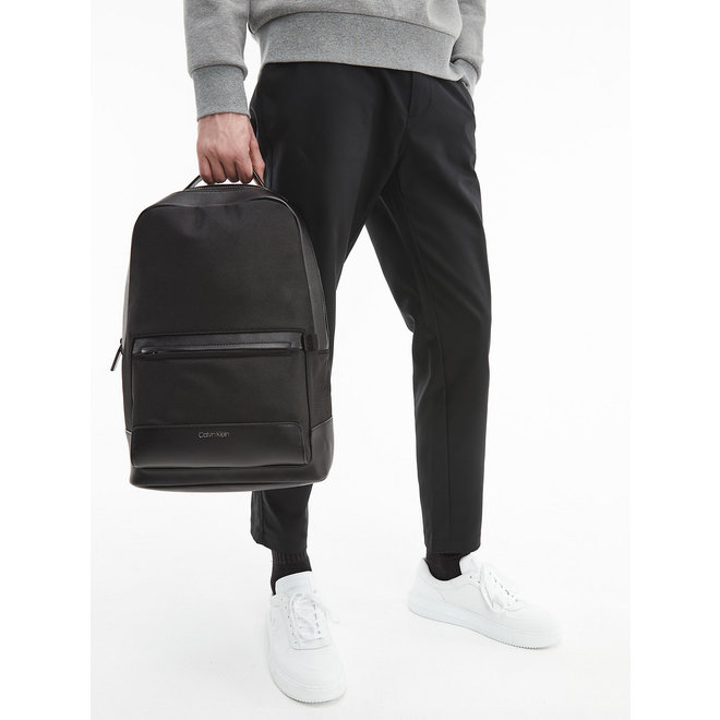 Recycled CK Polyester Round Backpack men - Black