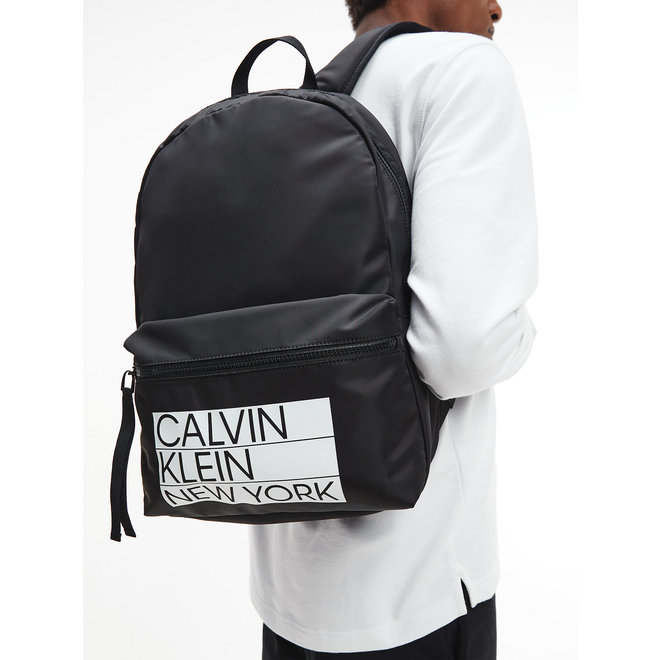 Recycled Polyester Round Backpack Men - CK Black