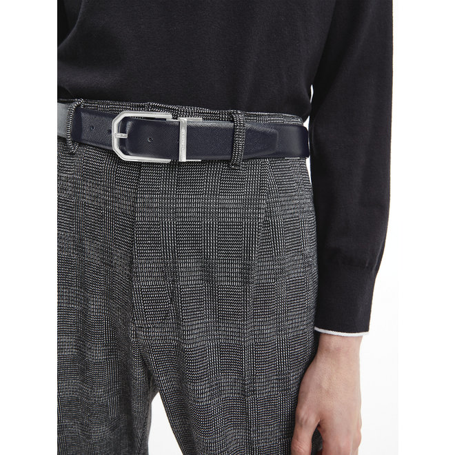 Reversible CK Leather Belt - Black/Dark Brown