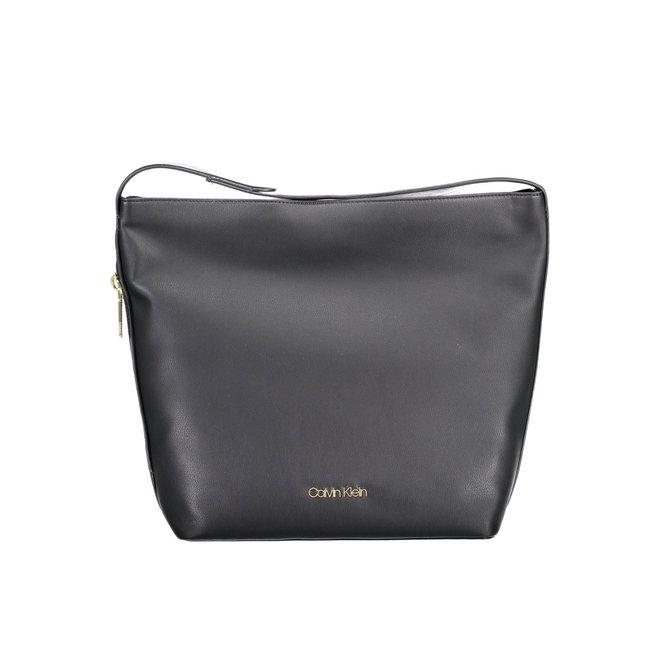 Large CK logo plaque shoulder bag - Black