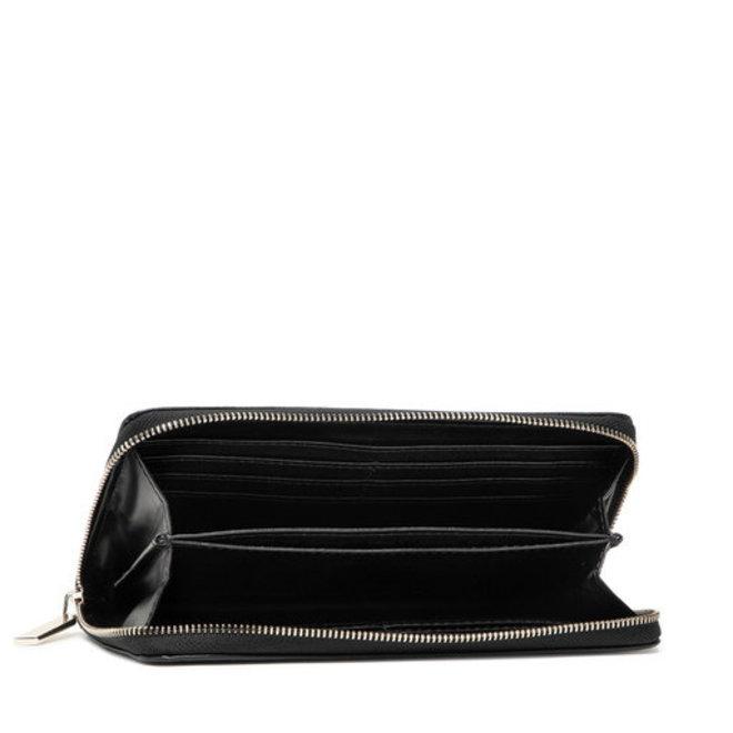 Faux Leather CK Zip Wallet Women - Black