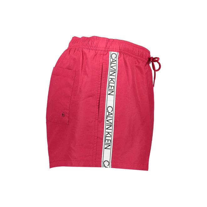 Short Drawstring Swim Shorts Men - CK Logo Tape - Red