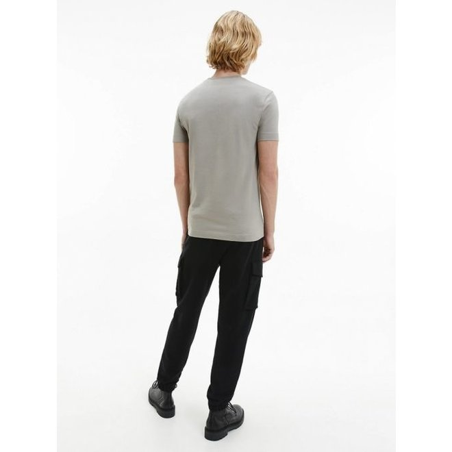 Slim Organic Cotton Monogram T-Shirt Men - Elephant Skin