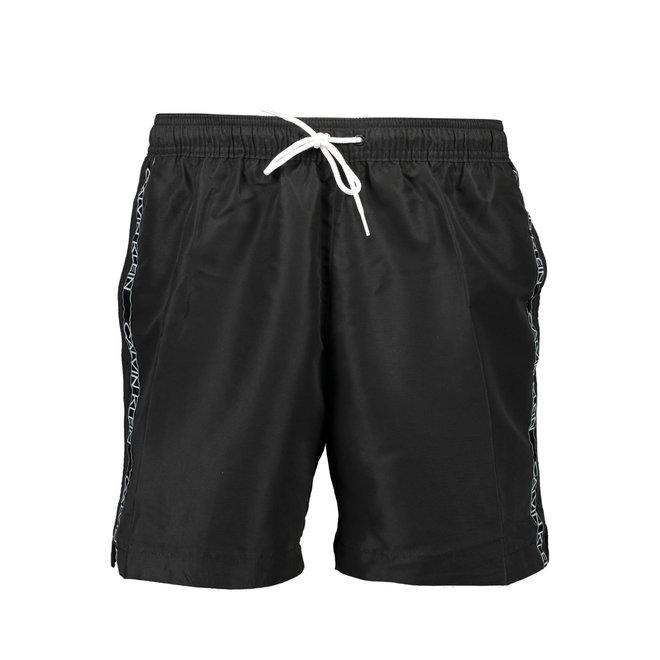 Medium Drawstring Swim Shorts Men - Logo Tape - Black