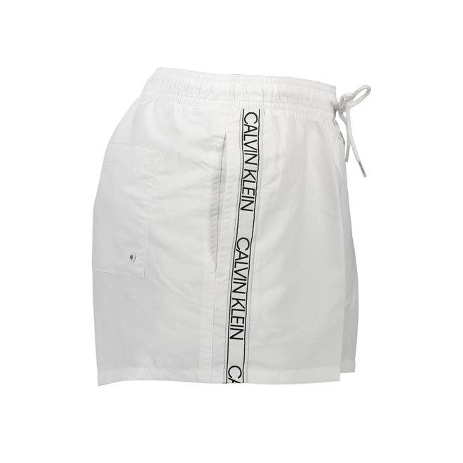 Short Drawstring Swim Shorts Men - CK Logo Tape - White