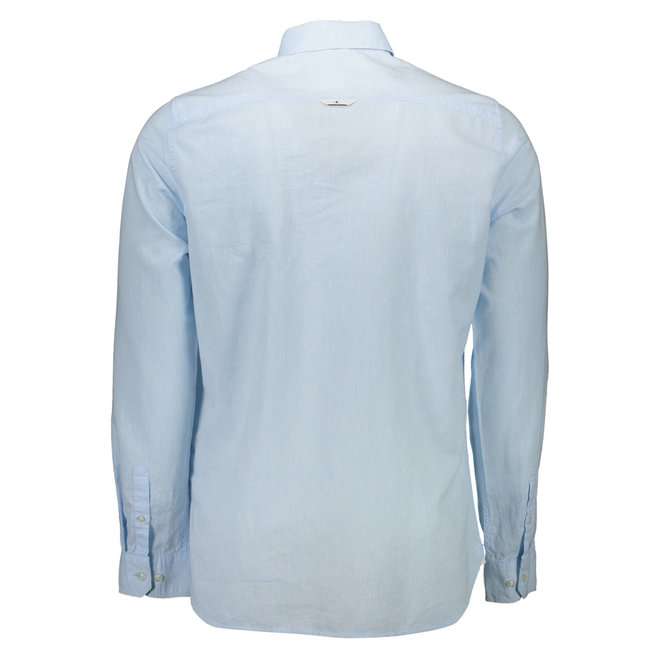 Slim Cotton Linen Shirt Men - Light Blue