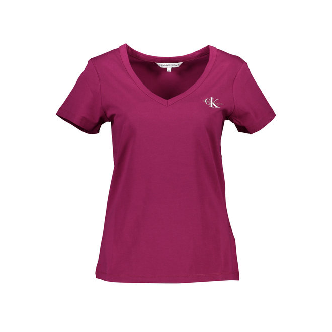 Slim organic cotton v-neck t-shirt - Violet