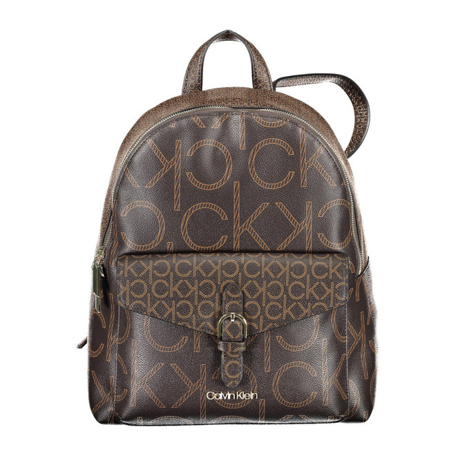 Round logo backpack - Brown mono