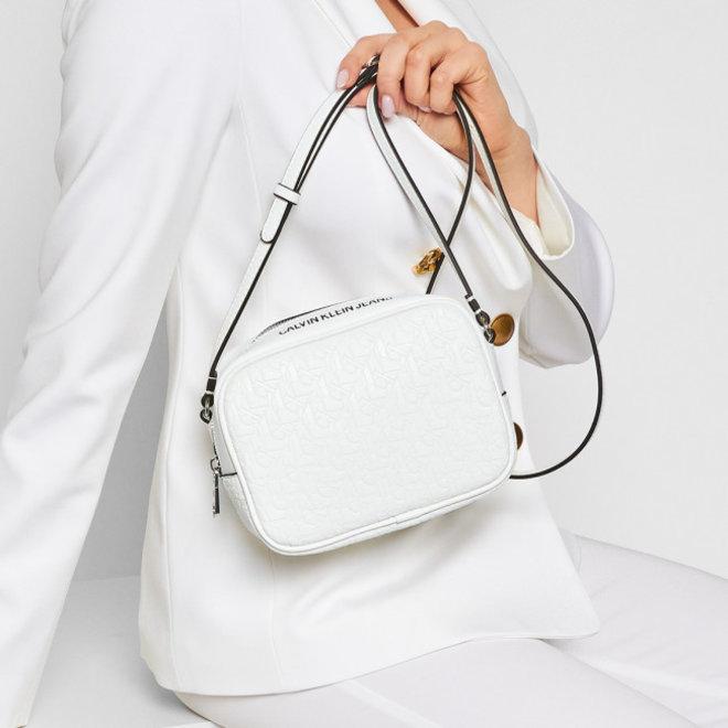 Crossbody Bag Calvin Klein all-over monogram logo emboss - White