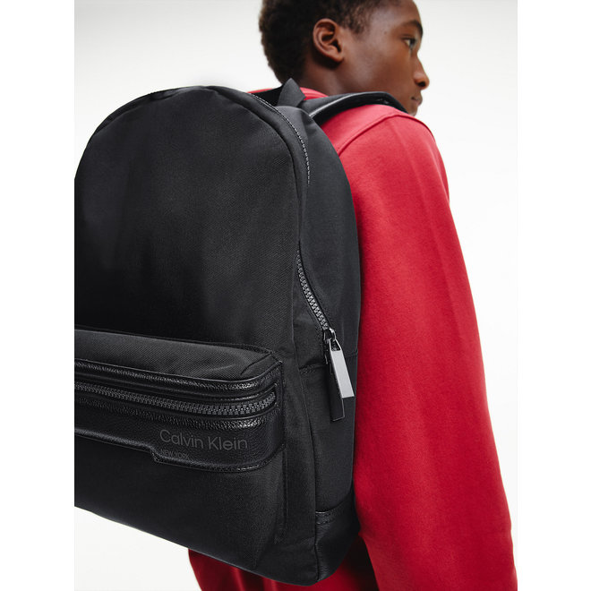 Recycled Polyester Round Backpack men - Black