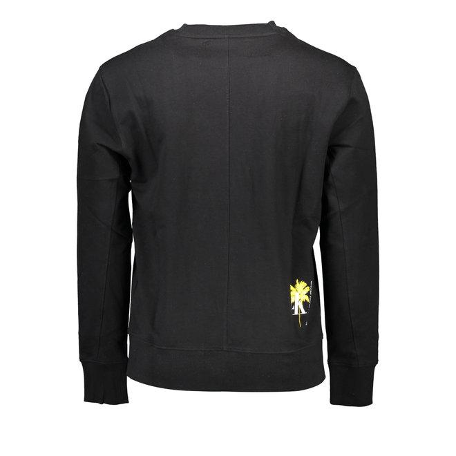 Organic cotton palm print sweatshirt Men - Black