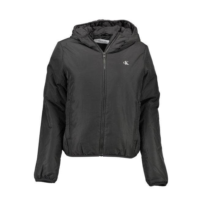 Embossed Logo Zip Up Jacket Women - CK Black/ Bright White