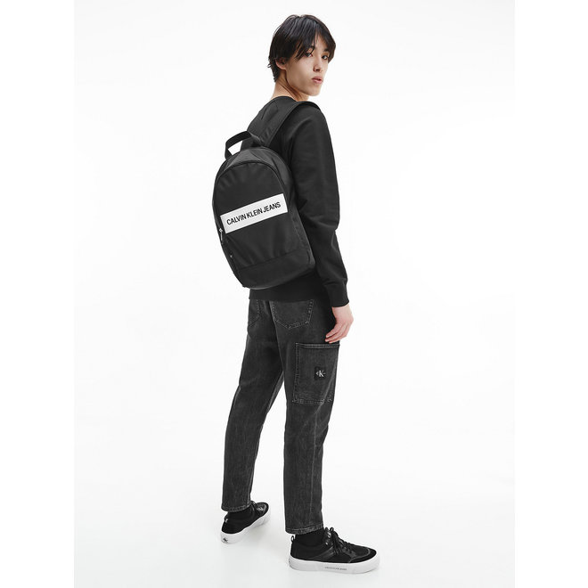 Recycled Polyester Round CK Backpack - Black