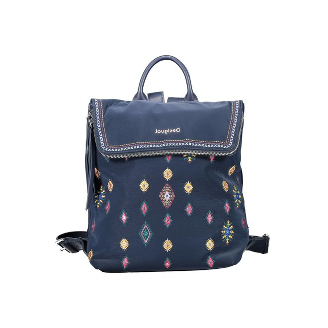 Square backpack embroideries Women - Blue