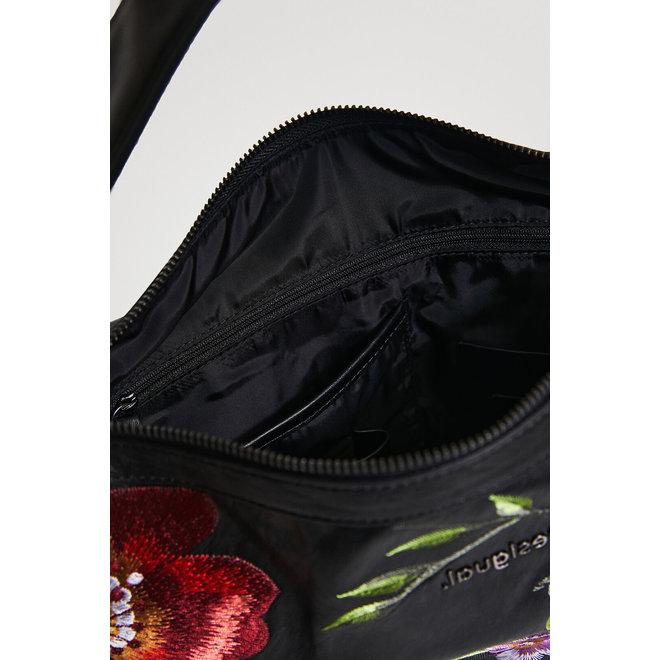Leather effect embroidered handbag Women - Black