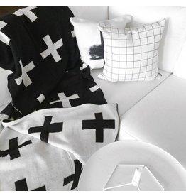 Modern Burlap Deken, zwart/met witte plussen