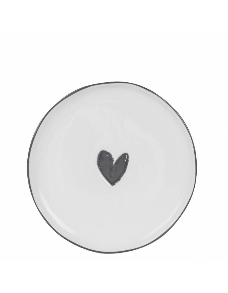 Bastion Collections BC Dessert plate White with black heart