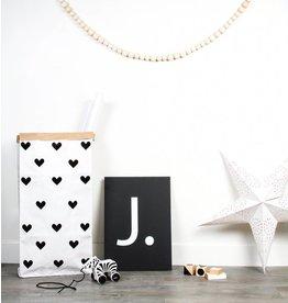 Mon Petit Zoreol Large paperbag hartjes zwart