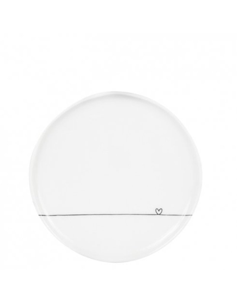 Bastion Collections Dessert plate White line heart in black