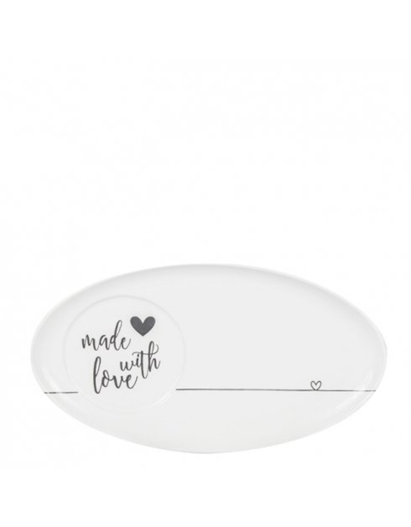 Bastion Collections Oval plate White made with love in black