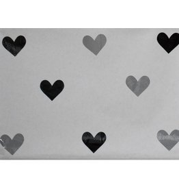 Mon Petit Zoreol Large paperbag hartjes, grijs/zwart