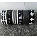 Zoedt Masking tape zwart met witte streep