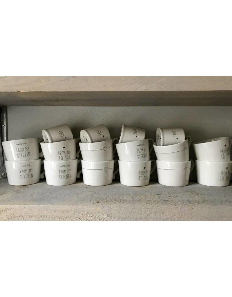 Bastion Collections Espresso White Love in Black 54x 62 cm