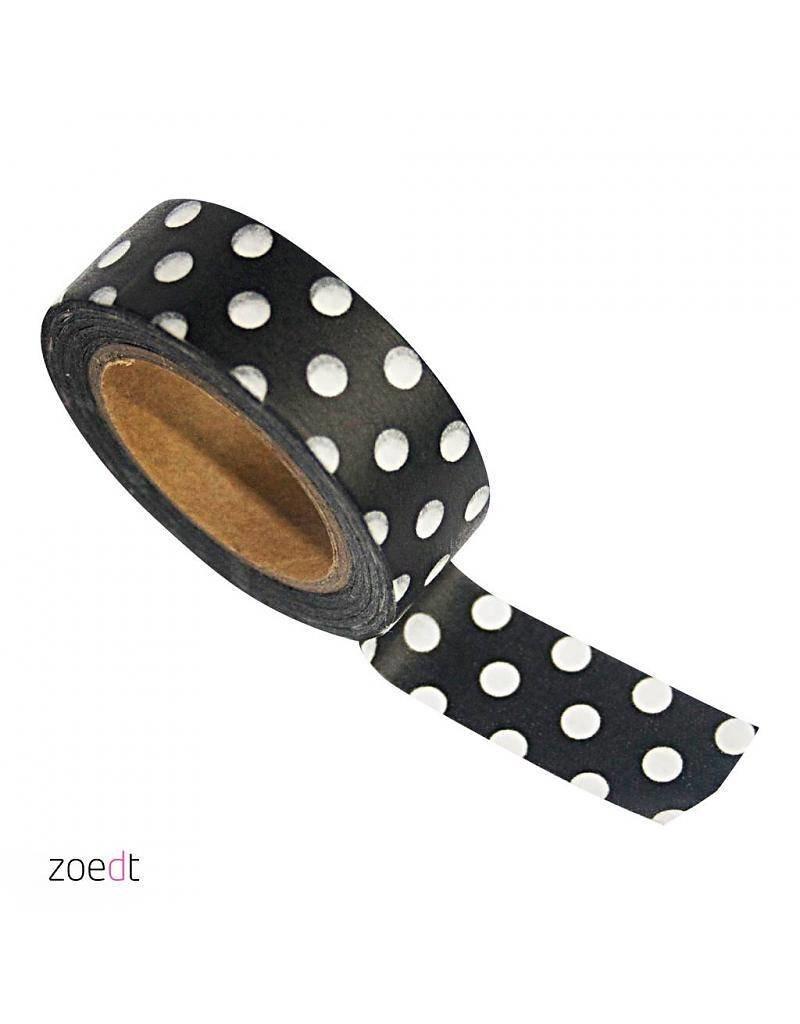 Zoedt Masking tape zwart met stippen