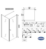 """Best Design BD """"ERICO"""" vierkante cabine met 1 swing deur 100x100x200cm NANO glas 6mm"""
