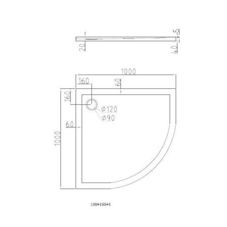 """Best Design """"Dona"""" Lage douchebak 1/4"""" rond 100x100x4cm R=550"""