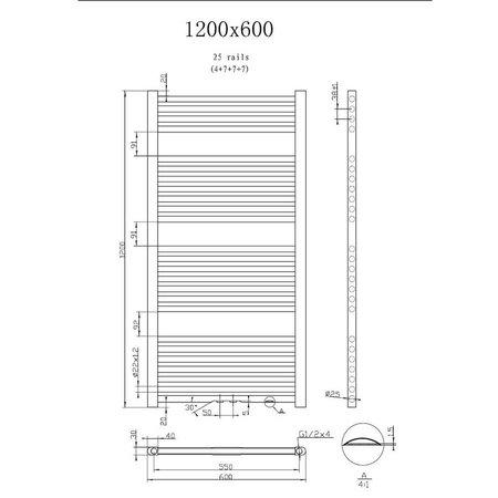 "Best Design Radiator ""Antraciet Zero"" 1200x600mm"