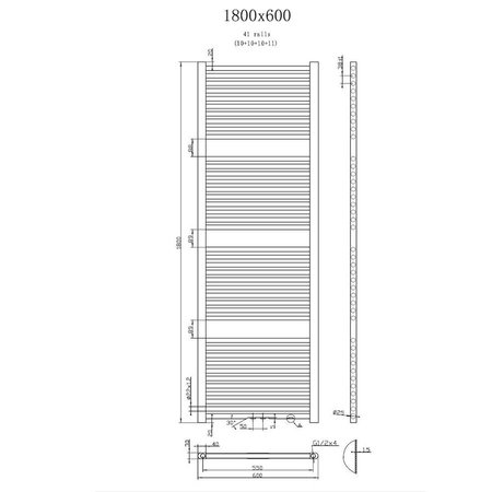 "Best Design Radiator ""Antraciet Zero "" 1800x600mm"
