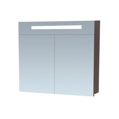 Samano Exclusive Spiegelkast | 80 cm | zwart | 2 deuren | LED verlichting | black diamond | enkelzijdige spiegel