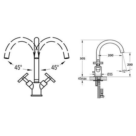 "Best Design ""New-Jax"" Keukenmengkraan H=30cm"
