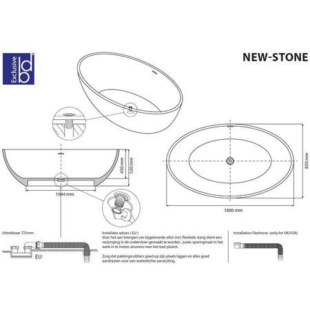 "Best Design Best Design ""Solid"" vrijstaand bad ""New-Stone"" 180x85x52cm"