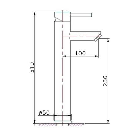 """Best Design RVS-304 wastafelkraan-hoog """"Ore"""" Type: """"Elo"""""""
