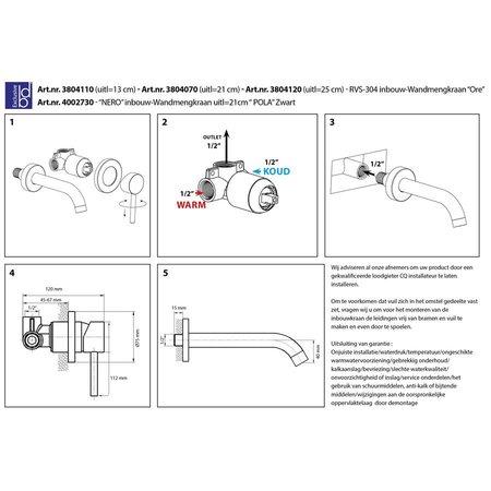 """Best Design RVS-304 Inbouw-Wandmengkraan """"Ore"""" uitl=25cm"""