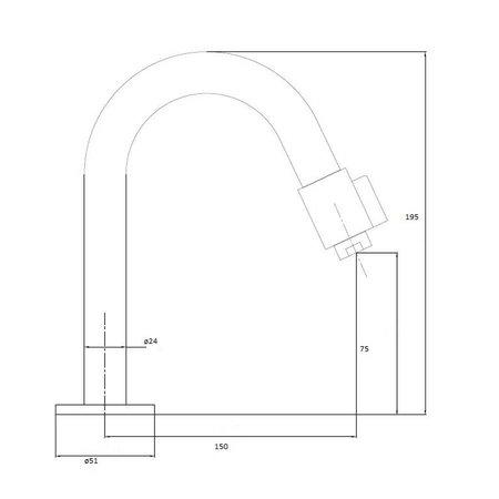 "Best Design RVS-304 ""Ore"" Toiletkraan ""DIMPEL"""