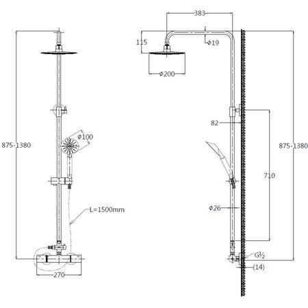 """Best Design RVS-304 """"Ore"""" Regendouche-opbouwset Thermostatisch """"MUNCHEN"""""""