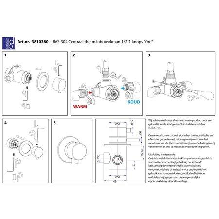 """Best Design RVS-304 Centraal therm.inbouwkraan 1/2""""1 knops """"Ore"""""""