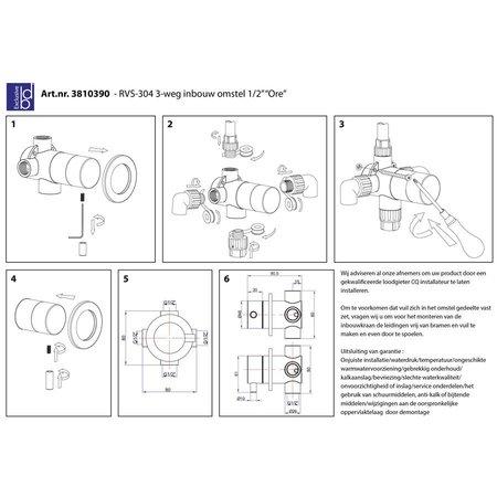 "Best Design RVS-304 3-weg inbouw omstel 1/2"" ""Ore"""